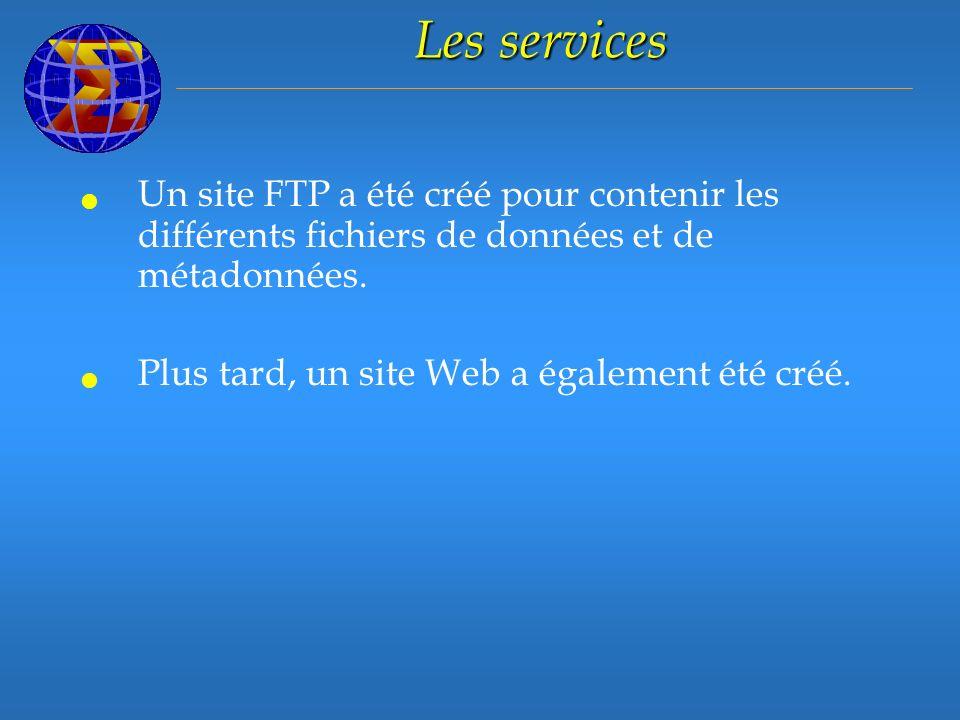 Les services Un site FTP a été créé pour contenir les différents fichiers de données et de métadonnées.