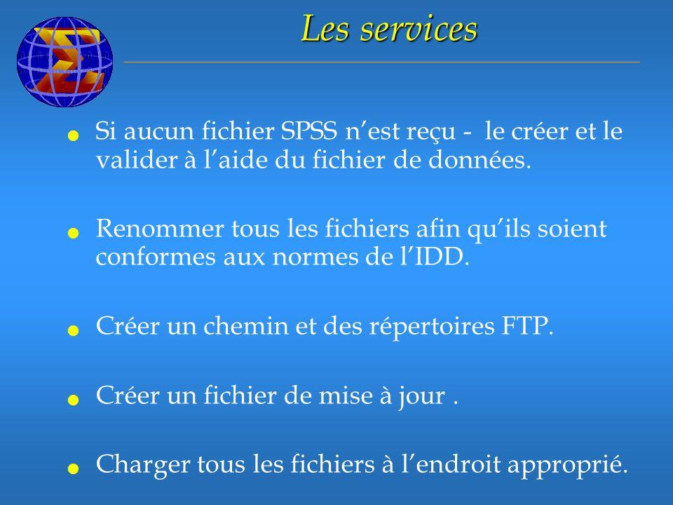 Les services Si aucun fichier SPSS nest reçu - le créer et le valider à laide du fichier de données.