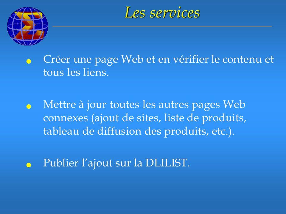 Les services Créer une page Web et en vérifier le contenu et tous les liens.