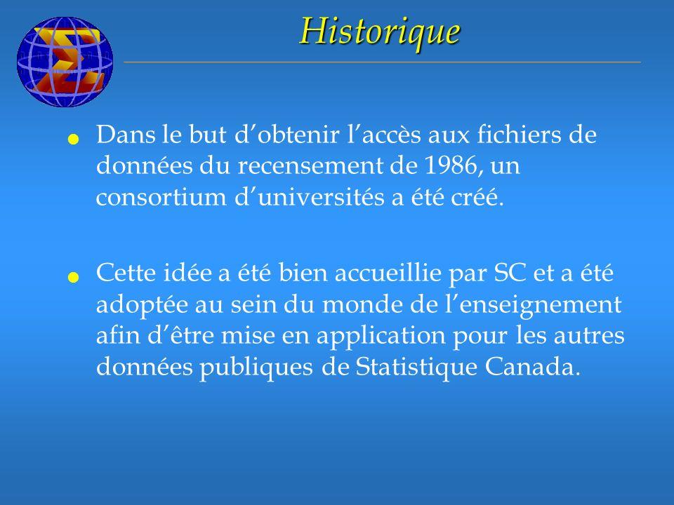 Historique Dans le but dobtenir laccès aux fichiers de données du recensement de 1986, un consortium duniversités a été créé.
