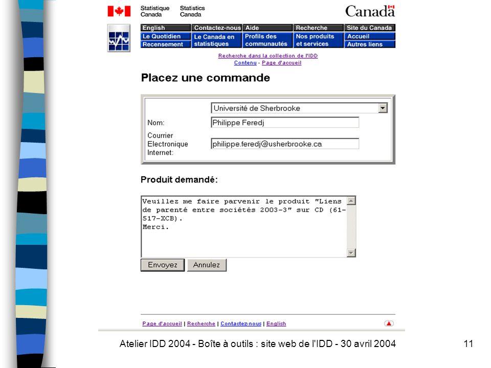 Atelier IDD 2004 - Boîte à outils : site web de l IDD - 30 avril 200411