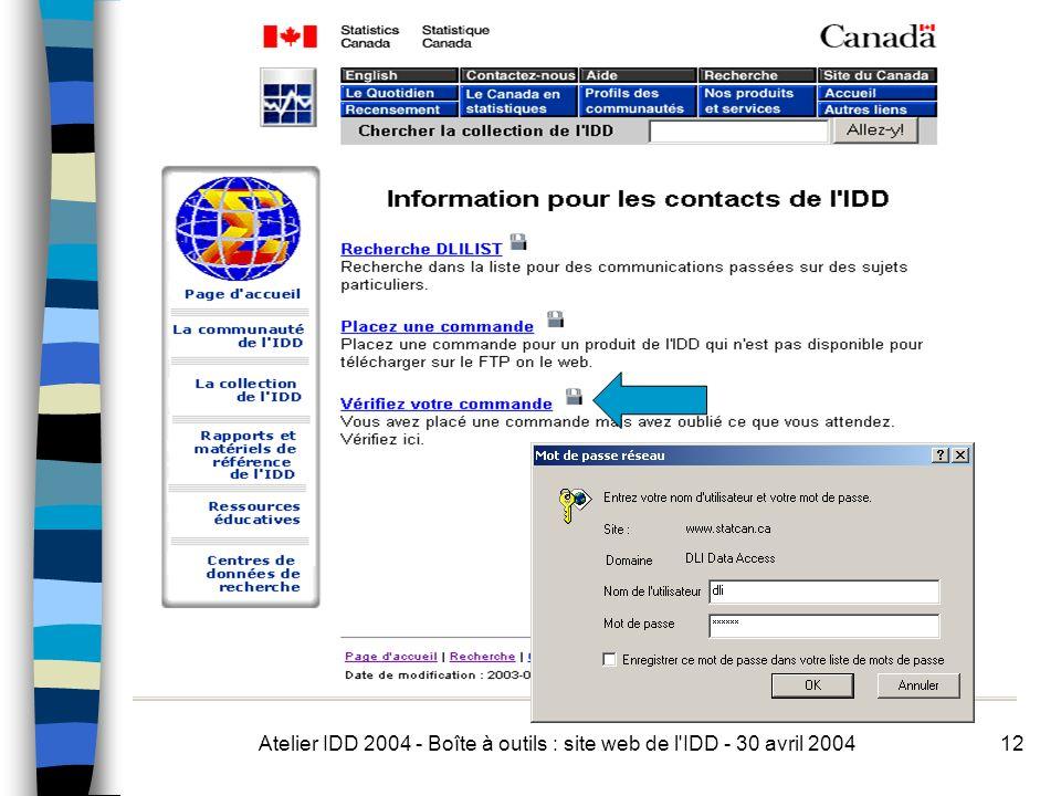 Atelier IDD 2004 - Boîte à outils : site web de l IDD - 30 avril 200412