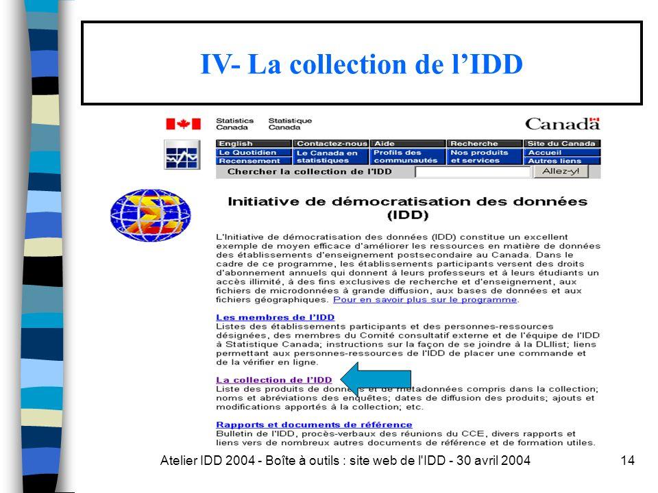 Atelier IDD 2004 - Boîte à outils : site web de l IDD - 30 avril 200414 IV- La collection de lIDD