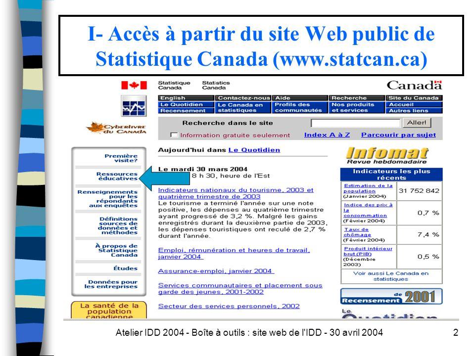 Atelier IDD 2004 - Boîte à outils : site web de l IDD - 30 avril 20042 I- Accès à partir du site Web public de Statistique Canada (www.statcan.ca)