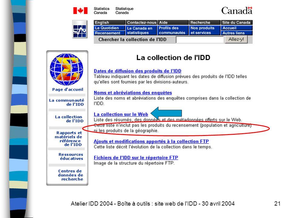 Atelier IDD 2004 - Boîte à outils : site web de l IDD - 30 avril 200421