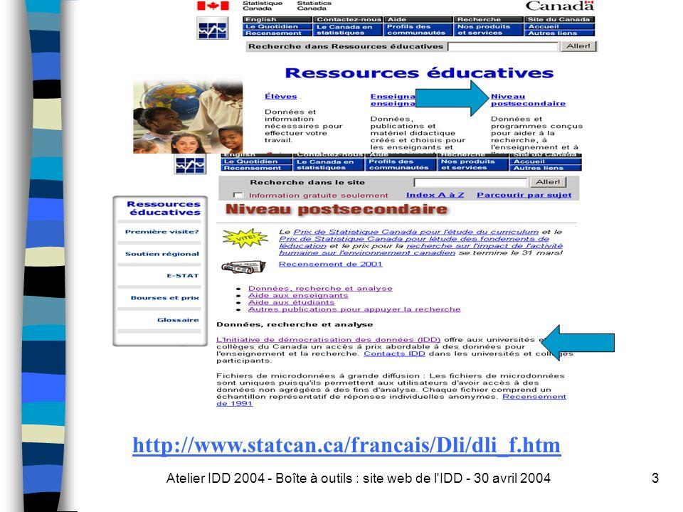 Atelier IDD 2004 - Boîte à outils : site web de l IDD - 30 avril 20043 http://www.statcan.ca/francais/Dli/dli_f.htm