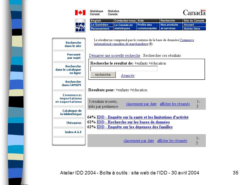 Atelier IDD 2004 - Boîte à outils : site web de l IDD - 30 avril 200435