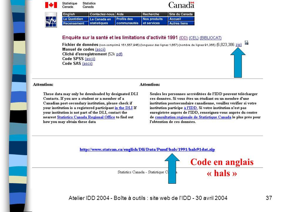 Atelier IDD 2004 - Boîte à outils : site web de l IDD - 30 avril 200437 Code en anglais « hals »