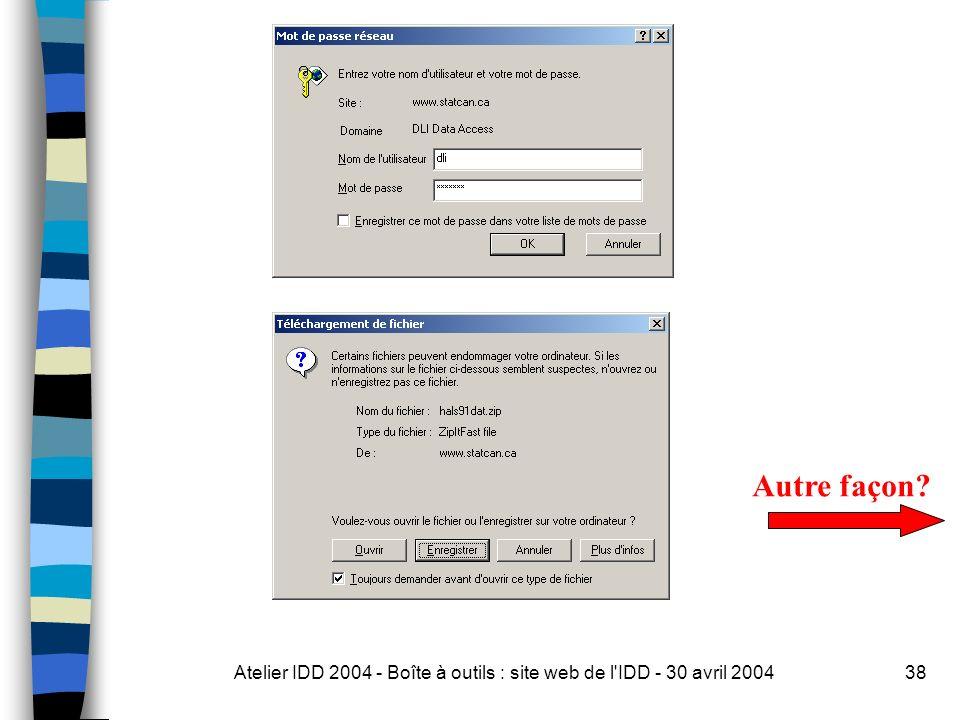Atelier IDD 2004 - Boîte à outils : site web de l IDD - 30 avril 200438 Autre façon