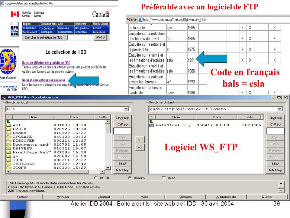 Atelier IDD 2004 - Boîte à outils : site web de l IDD - 30 avril 200439 Logiciel WS_FTP Code en français hals = esla Préférable avec un logiciel de FTP
