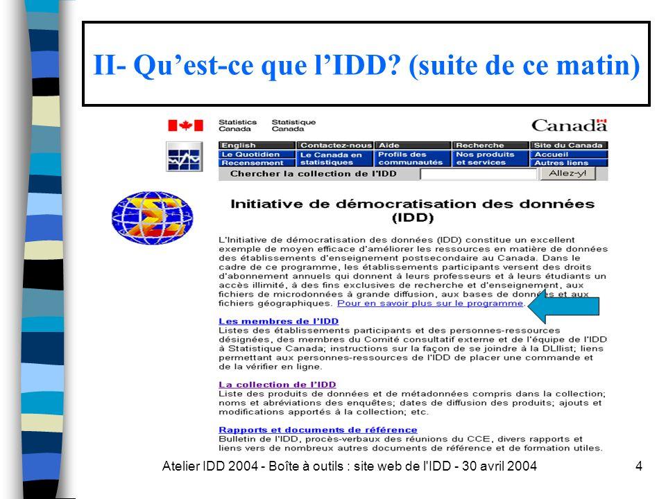 Atelier IDD 2004 - Boîte à outils : site web de l IDD - 30 avril 200445 Guy Julien et André Blondin vont nous en parler…