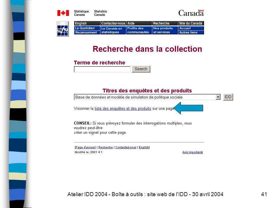 Atelier IDD 2004 - Boîte à outils : site web de l IDD - 30 avril 200441