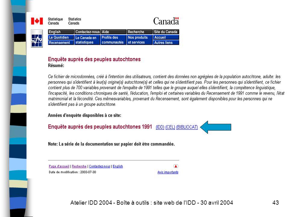 Atelier IDD 2004 - Boîte à outils : site web de l IDD - 30 avril 200443