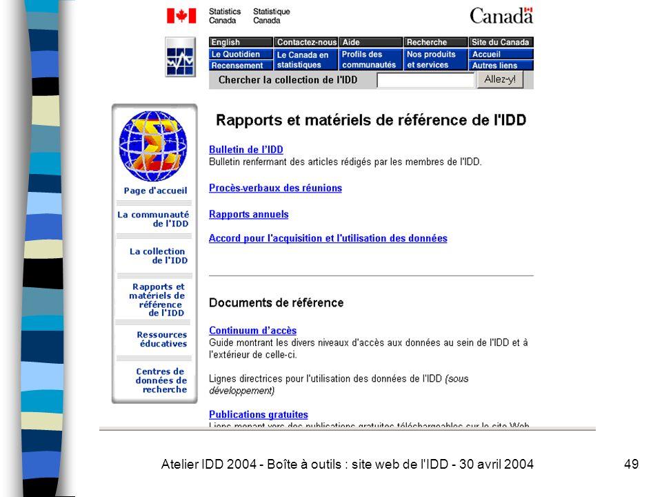 Atelier IDD 2004 - Boîte à outils : site web de l IDD - 30 avril 200449