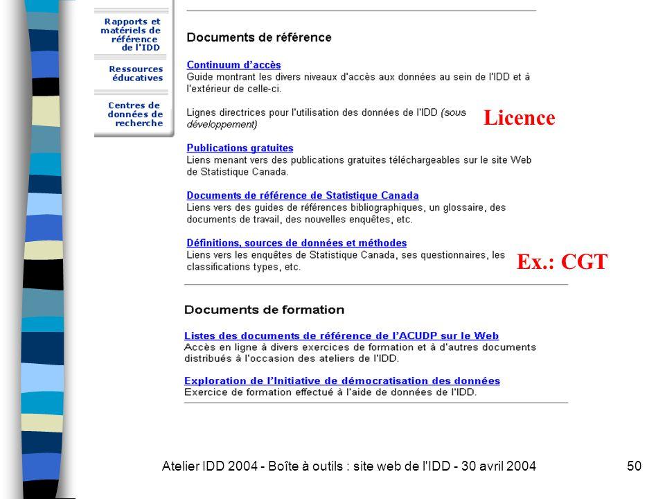 Atelier IDD 2004 - Boîte à outils : site web de l IDD - 30 avril 200450 Licence Ex.: CGT