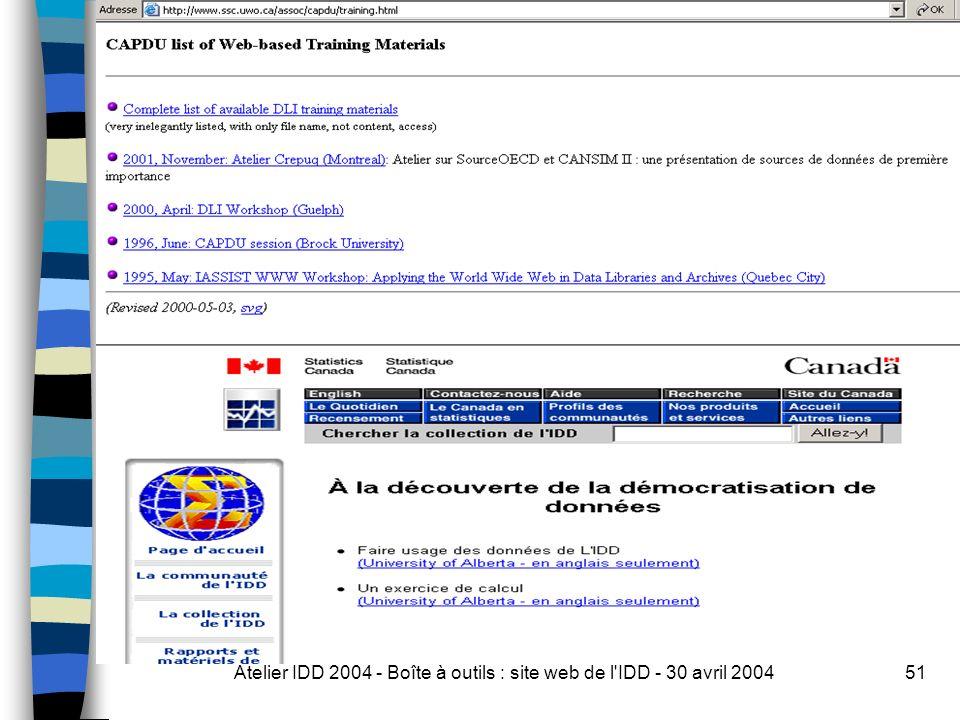 Atelier IDD 2004 - Boîte à outils : site web de l IDD - 30 avril 200451