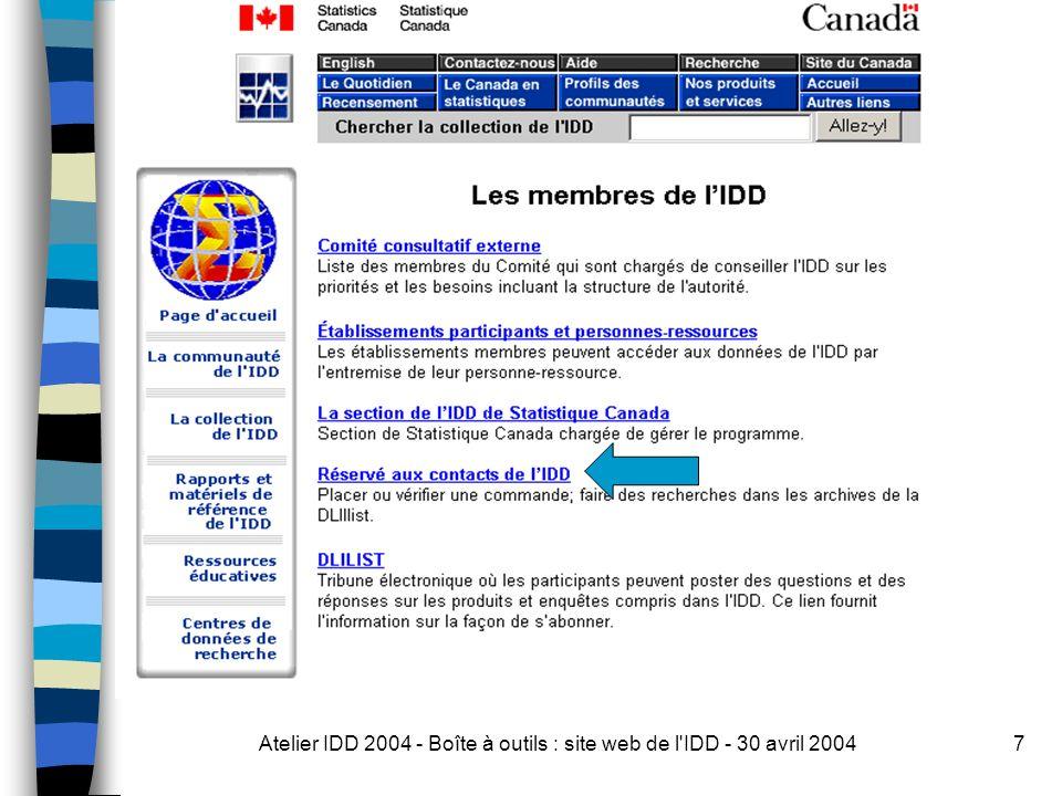 Atelier IDD 2004 - Boîte à outils : site web de l IDD - 30 avril 200438 Autre façon?