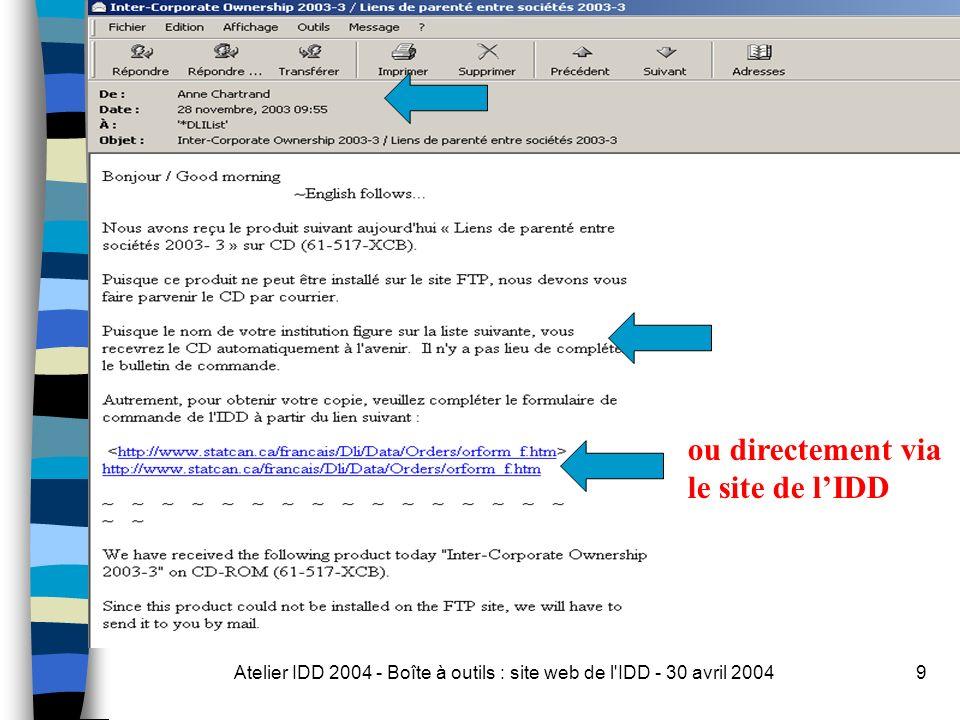 Atelier IDD 2004 - Boîte à outils : site web de l IDD - 30 avril 200410 Nom de lutilisateur: dli Mot de passe : celui envoyé par courriel aux contacts IDD pour le site Web et le site FTP