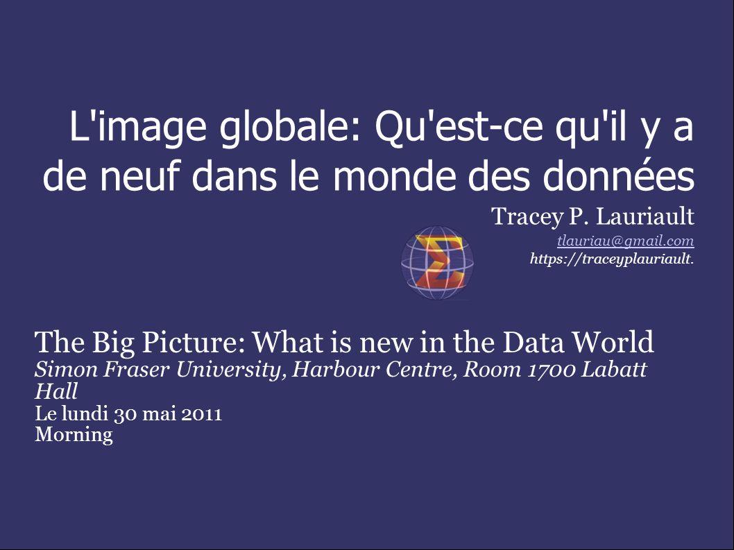 L image globale: Qu est-ce qu il y a de neuf dans le monde des données Tracey P.