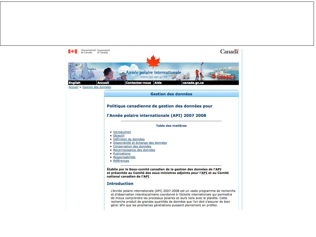 http://traceyplauriault.ca/ 11 API– Financement de recherche et gestion de données IPY- Research funding and data management http://www.ipy-api.gc.ca/pg_IPYAPI_052-fra.html