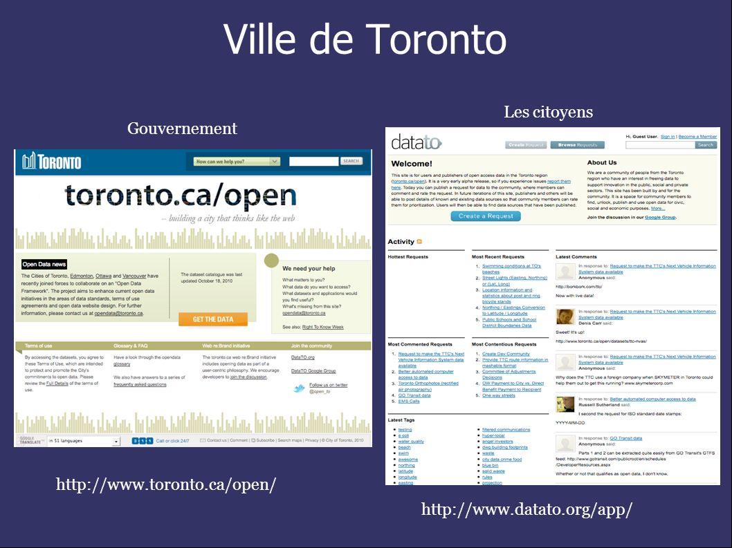 Ville de Toronto http://www.toronto.ca/open/ http://www.datato.org/app/ Gouvernement Les citoyens