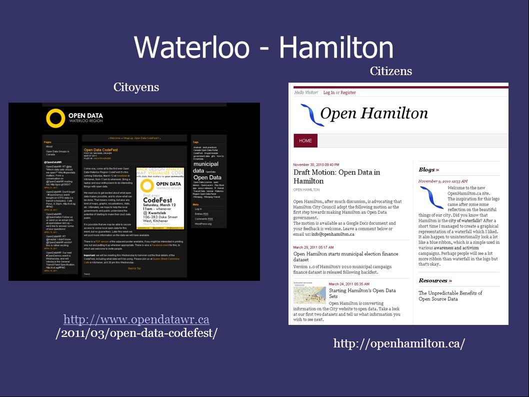 Waterloo - Hamilton http://www.opendatawr.ca /2011/03/open-data-codefest/ http://openhamilton.ca/ Citoyens Citizens