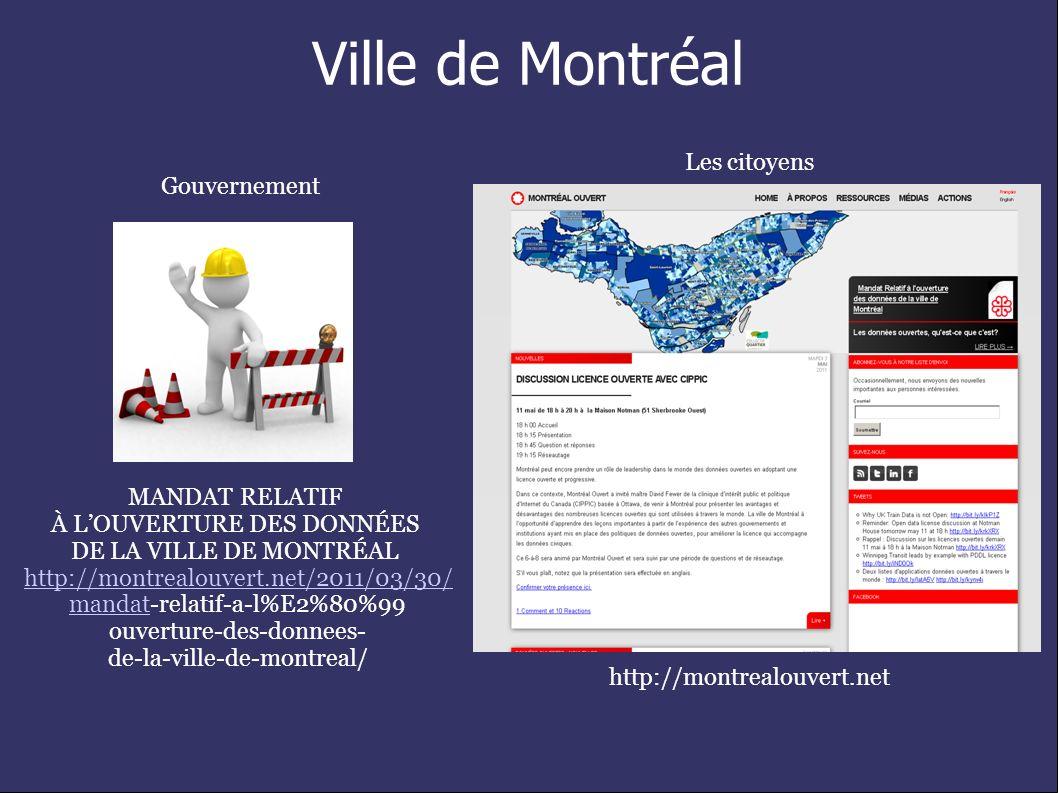 Ville de Montréal http://montrealouvert.net Gouvernement Les citoyens MANDAT RELATIF À LOUVERTURE DES DONNÉES DE LA VILLE DE MONTRÉAL MANDAT RELATIF À LOUVERTURE DES DONNÉES DE LA VILLE DE MONTRÉAL http://montrealouvert.net/2011/03/30/ mandatmandat-relatif-a-l%E2%80%99 ouverture-des-donnees- de-la-ville-de-montreal/