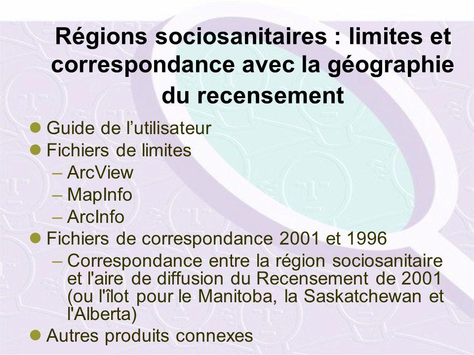 Régions sociosanitaires : limites et correspondance avec la géographie du recensement Guide de lutilisateur Fichiers de limites –ArcView –MapInfo –Arc