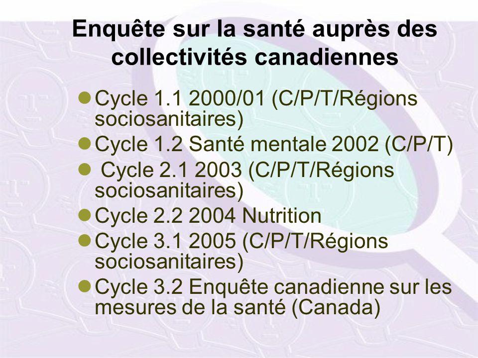 Enquête sur la santé auprès des collectivités canadiennes Cycle 1.1 2000/01 (C/P/T/Régions sociosanitaires) Cycle 1.2 Santé mentale 2002 (C/P/T) Cycle