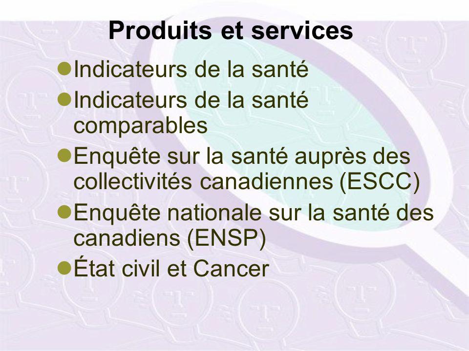 Produits et services Indicateurs de la santé Indicateurs de la santé comparables Enquête sur la santé auprès des collectivités canadiennes (ESCC) Enquête nationale sur la santé des canadiens (ENSP) État civil et Cancer