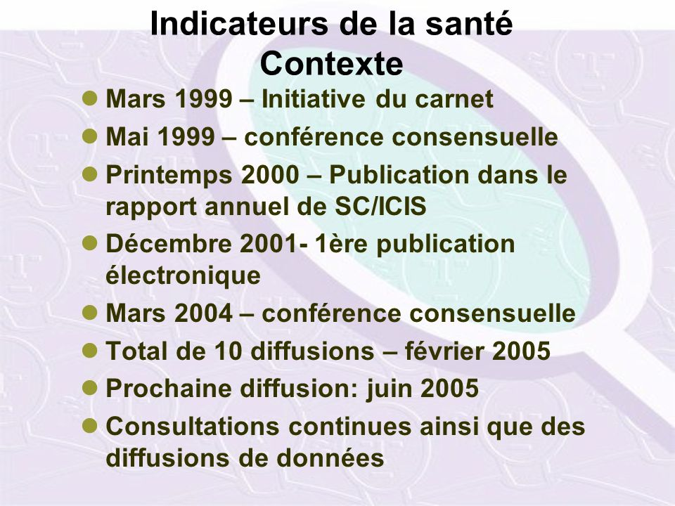 Indicateurs de la santé Contexte Mars 1999 – Initiative du carnet Mai 1999 – conférence consensuelle Printemps 2000 – Publication dans le rapport annu