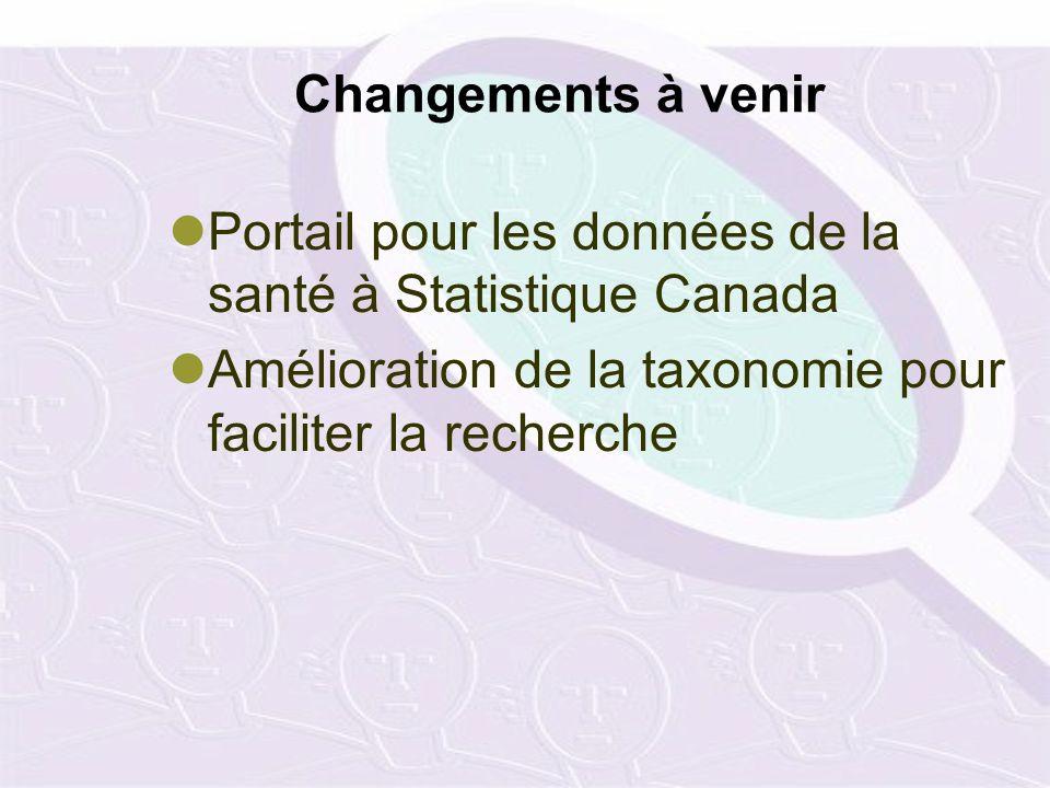 Changements à venir Portail pour les données de la santé à Statistique Canada Amélioration de la taxonomie pour faciliter la recherche