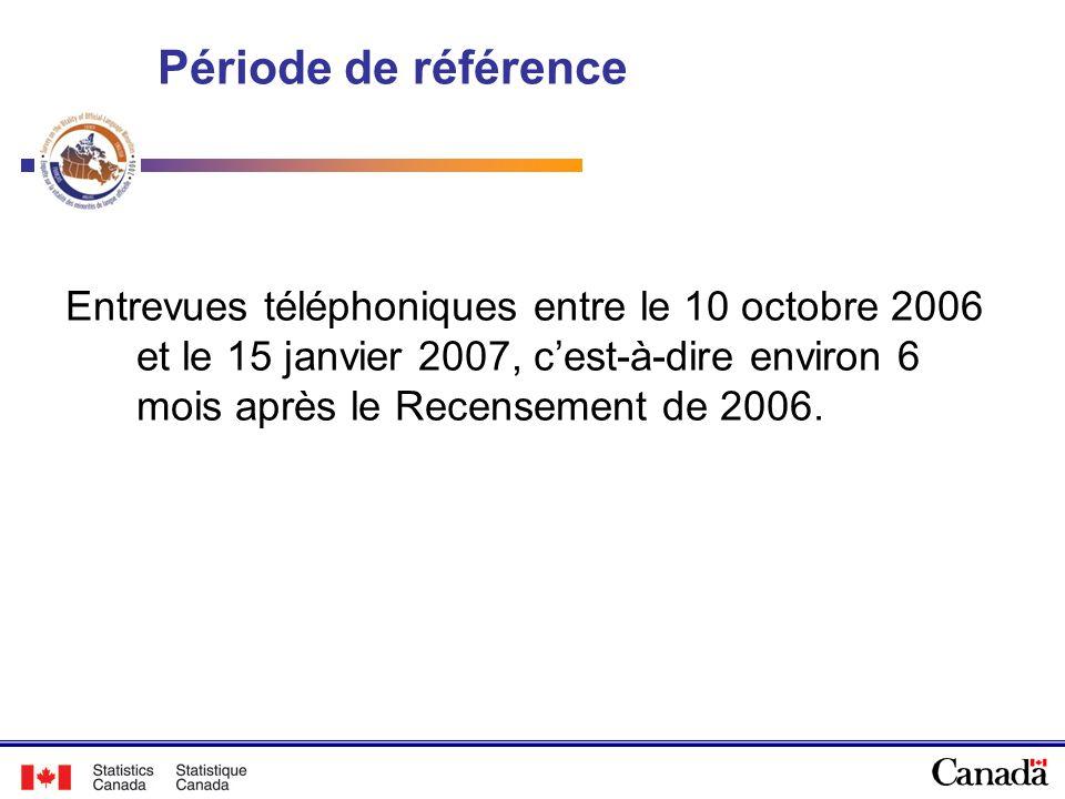 Période de référence Entrevues téléphoniques entre le 10 octobre 2006 et le 15 janvier 2007, cest-à-dire environ 6 mois après le Recensement de 2006.