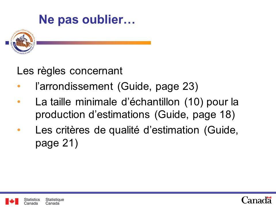 Ne pas oublier… Les règles concernant larrondissement (Guide, page 23) La taille minimale déchantillon (10) pour la production destimations (Guide, pa