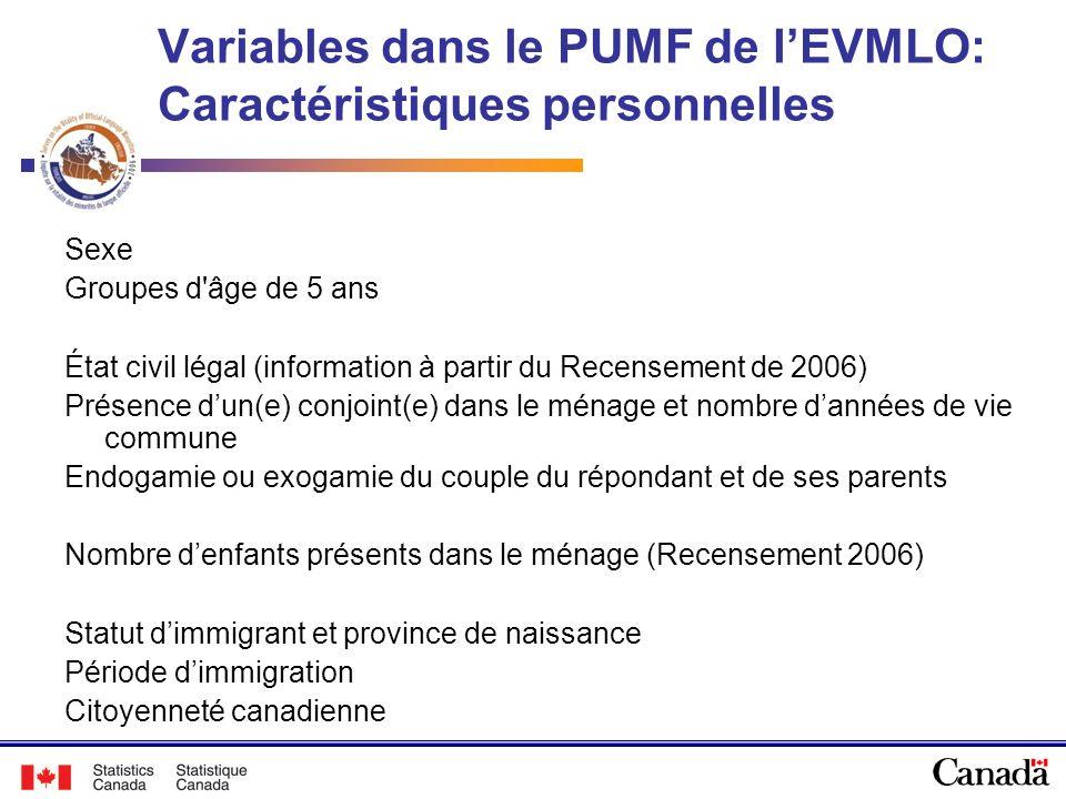 Variables dans le PUMF de lEVMLO: Caractéristiques personnelles Sexe Groupes d'âge de 5 ans État civil légal (information à partir du Recensement de 2
