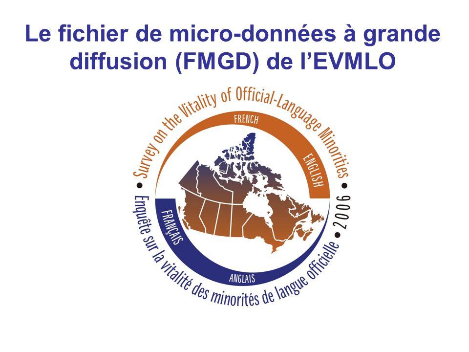 Contenu du CD avec le FMGD de lEVMLO Fichier de données pour les adultes Documents de référence: Guide de lutilisateur Fichier Excel contenant les C.V.