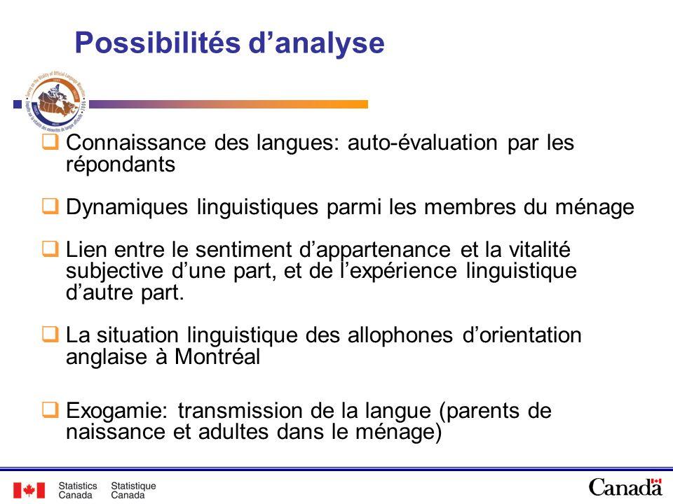 Possibilités danalyse Connaissance des langues: auto-évaluation par les répondants Dynamiques linguistiques parmi les membres du ménage Lien entre le