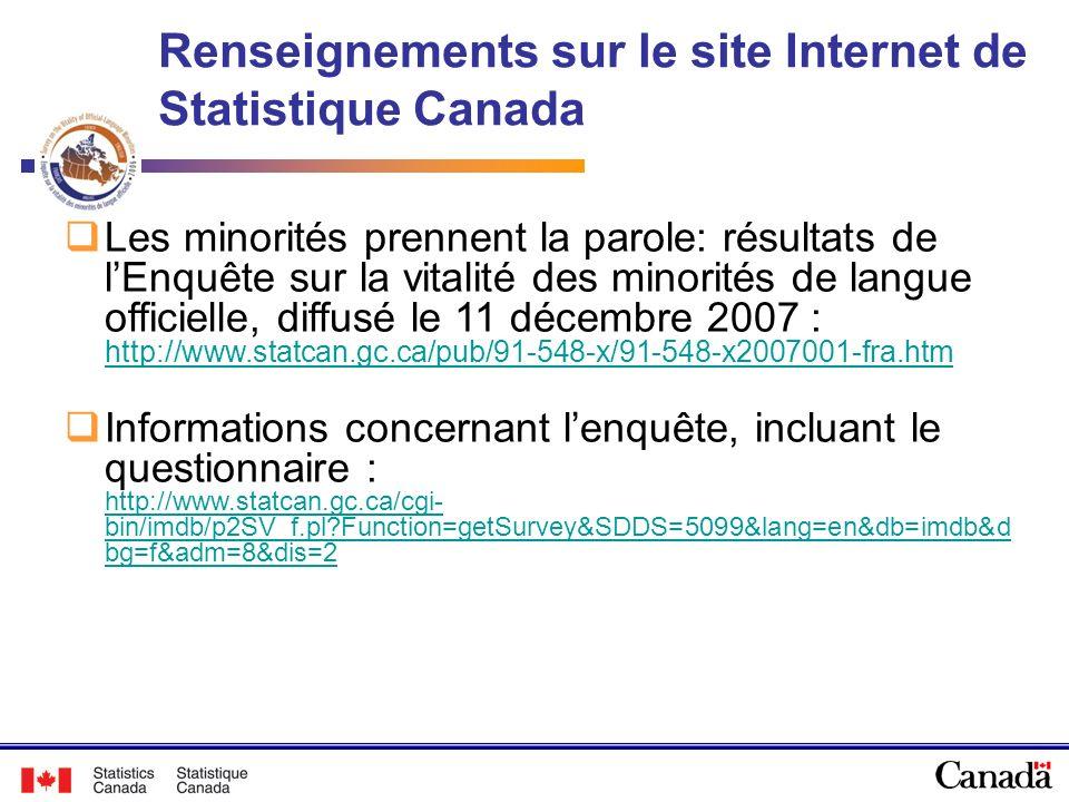 Les minorités prennent la parole: résultats de lEnquête sur la vitalité des minorités de langue officielle, diffusé le 11 décembre 2007 : http://www.s