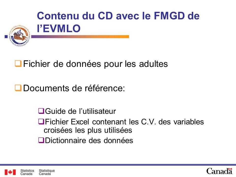 Contenu du CD avec le FMGD de lEVMLO Fichier de données pour les adultes Documents de référence: Guide de lutilisateur Fichier Excel contenant les C.V