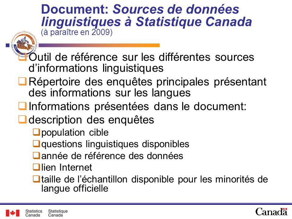 Document: Sources de données linguistiques à Statistique Canada (à paraître en 2009) Outil de référence sur les différentes sources dinformations ling