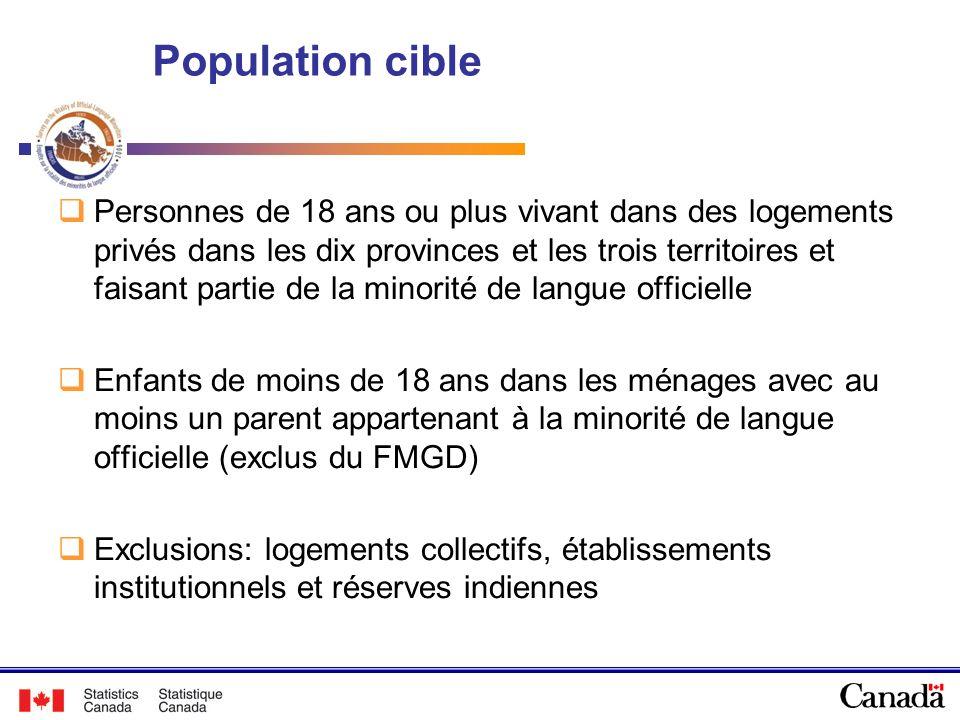 Population cible Personnes de 18 ans ou plus vivant dans des logements privés dans les dix provinces et les trois territoires et faisant partie de la