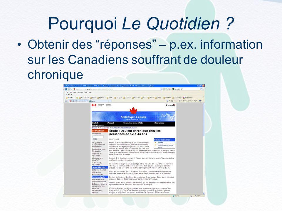 Pourquoi Le Quotidien . Obtenir des réponses – p.ex.