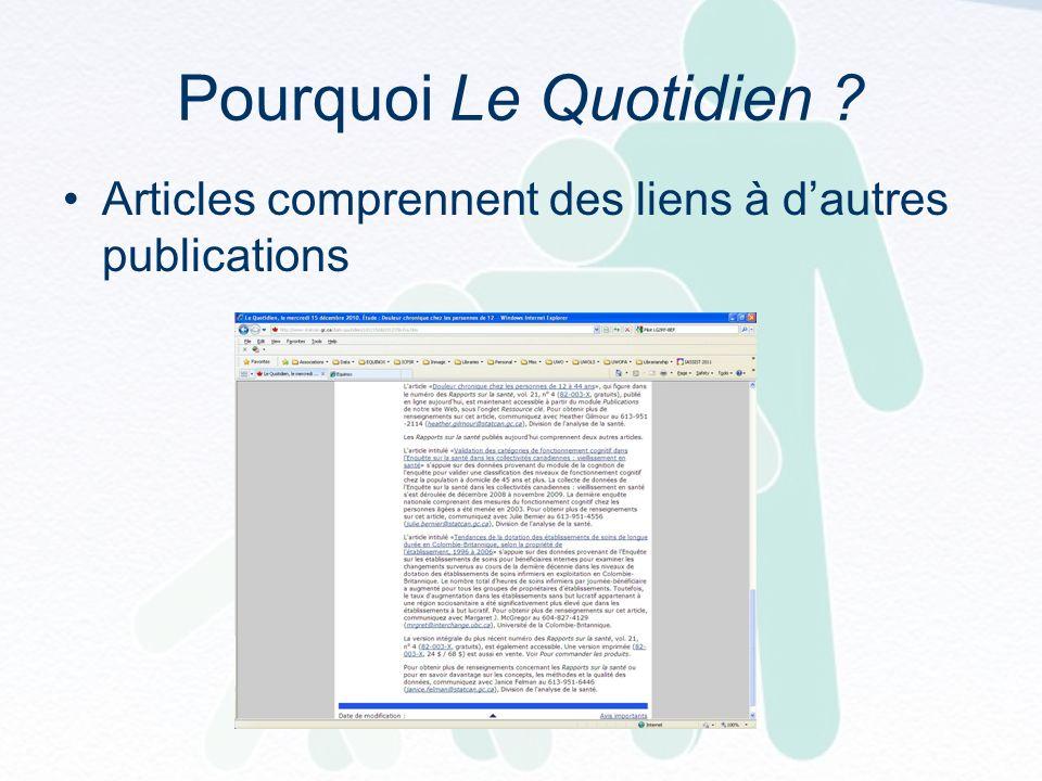 Pourquoi Le Quotidien Articles comprennent des liens à dautres publications