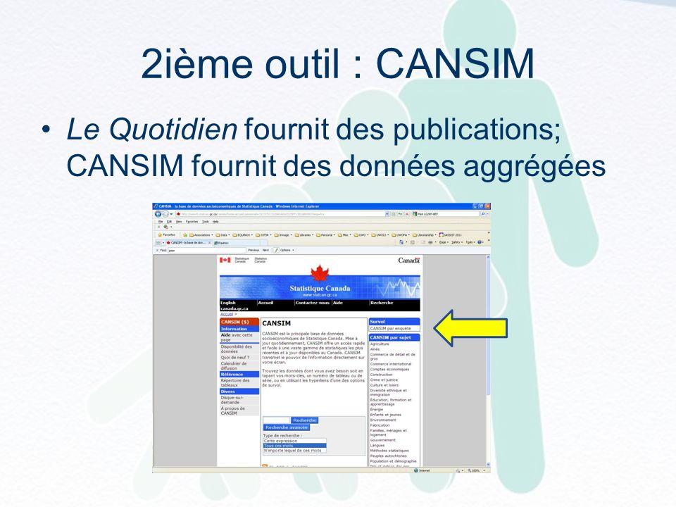 2ième outil : CANSIM Le Quotidien fournit des publications; CANSIM fournit des données aggrégées