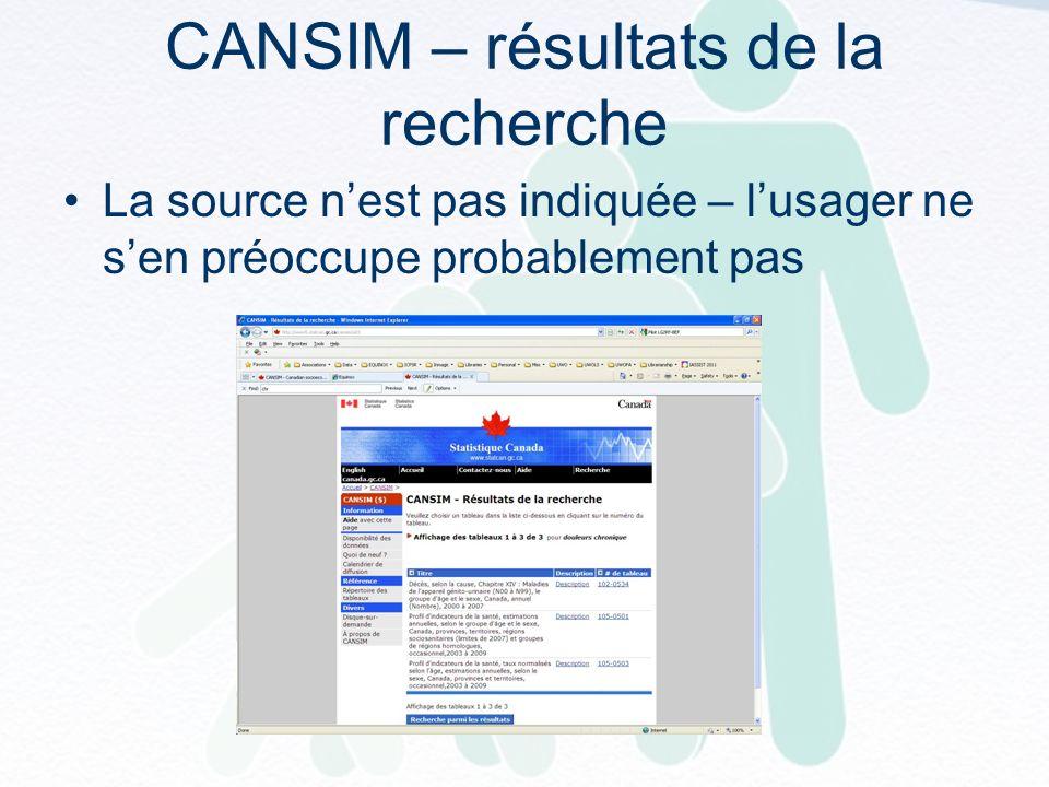 CANSIM – résultats de la recherche La source nest pas indiquée – lusager ne sen préoccupe probablement pas