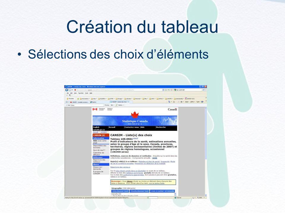 Création du tableau Sélections des choix déléments
