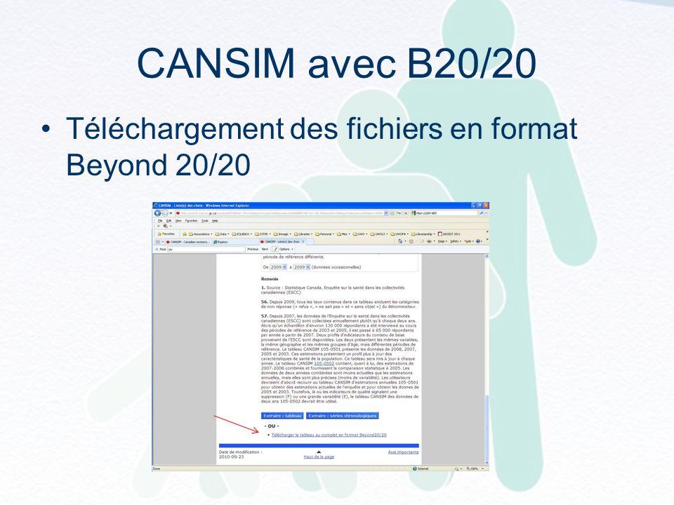 CANSIM avec B20/20 Téléchargement des fichiers en format Beyond 20/20