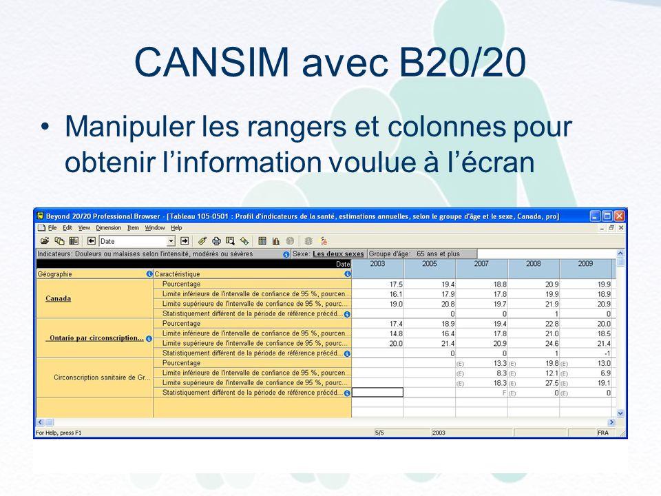CANSIM avec B20/20 Manipuler les rangers et colonnes pour obtenir linformation voulue à lécran