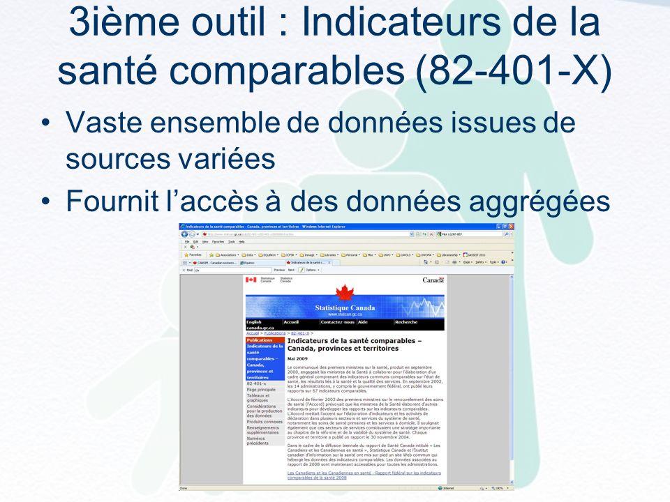 3ième outil : Indicateurs de la santé comparables (82-401-X) Vaste ensemble de données issues de sources variées Fournit laccès à des données aggrégées