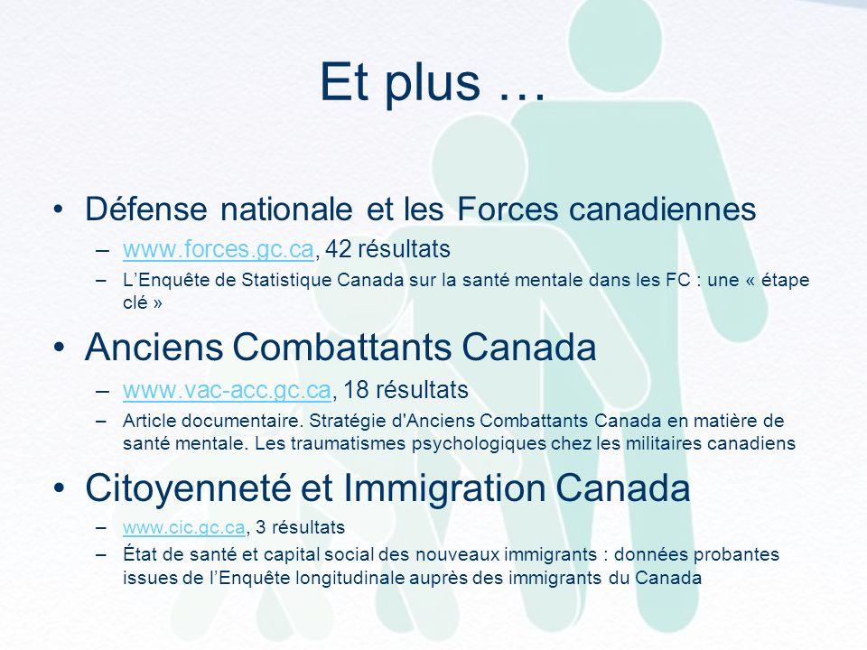 Et plus … Défense nationale et les Forces canadiennes –www.forces.gc.ca, 42 résultatswww.forces.gc.ca –LEnquête de Statistique Canada sur la santé mentale dans les FC : une « étape clé » Anciens Combattants Canada –www.vac-acc.gc.ca, 18 résultatswww.vac-acc.gc.ca –Article documentaire.